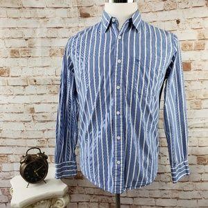 Aeropostale S Blue Striped Button Shirt Long Sleev